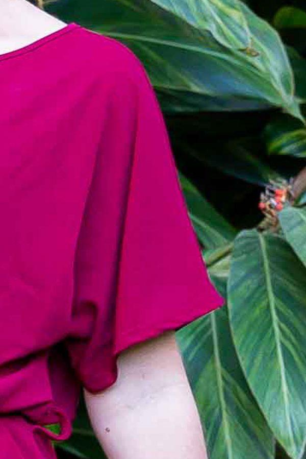 Short Sleeve Ladies Red Jumpsuit